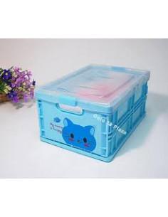 - 可愛動物折疊收納盒-藍懶貓