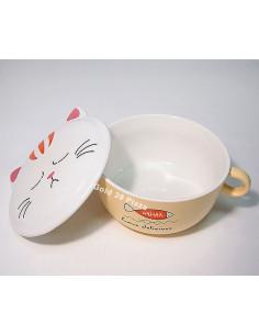 - 陶瓷貓咪雙耳防燙泡麵碗(附貓臉蓋)-黃色