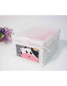 - 可愛動物折疊收納盒-乳白牛