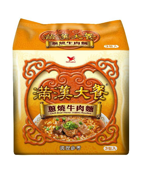 FIDEO INSTANT - 統一滿漢大餐-蔥燒牛肉麵袋裝*3入